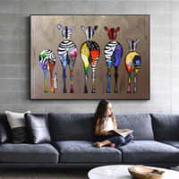 zebra wandmalereien großhandel-Abstrakte Zebra Leinwand Kunst Gemälde An Der Wand Bunte Tiere Kunstdrucke Afrikanische Tiere Kunst Bilder Für Wohnzimmer Wand 4.8