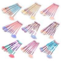 kaş makyajı parıltısı toptan satış-7 adet Glitter Kristal Makyaj Fırçalar Çanta Seti Pudra Fondöten Dudak Makyaj Kapatıcı Allık Kaş Göz Farı makyaj ile ...