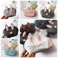 Wholesale coin online - 7 Colors Rabbit Ear Coin Purses Creative Wedding Party Gifts Korean D Rabbit Ear PU Leather Card Holders Cash Coin Bags CCA11304