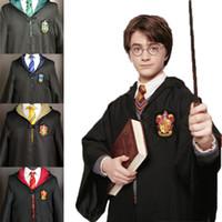 kinder orange krawatte großhandel-Erwachsene Kinder Cosplay Mantel Harry Potter Spezielle Stickerei Hoodie Magische Robe Weißes Hemd Halloween Gestreifte Krawatte Harry Potter Schal