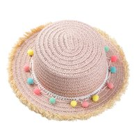 Wholesale white straw hats for girls for sale - Group buy Girls Summer Straw Hat Wide Brim Tassel Balls Floppy Panama Cap for Beach ED shipping