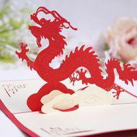 tarjetas de video chinas al por mayor-100mm * 150mm 3D Chinese Dragon Deseos Felices Tarjetas de Felicitación Tarjeta de Navidad Año Nuevo Tarjeta de Felicitación Regalo de DIY