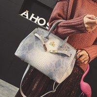 python çanta toptan satış-Lüks Çanta Kadınlar Çanta Baskılı Yılan Timsah Derisi Jelly Çanta Bez Python Çantası Kadın Crossbody Omuz Çantası