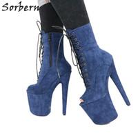 botas femininas azuis venda por atacado-Ankle Boots Azul Para As Mulheres Peep Toe Saltos Extremos Saltos de Dança do Pólo Exótico Fadas Fetiche Sexy Calçado Personalizado