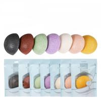 temiz yüz sünger toptan satış-Doğal Konjac Yuvarlak Sünger Yıkama Yüz Puf Yüz Temizleyici Exfoliator Yüz Temizleme Araçları Bayanlar Için 7 Renkler LJJP335