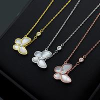 papillon d'argent blanc achat en gros de-Papillon blanc coquille unique diamant collier de luxe designer bijoux colliers femmes cadeau amour livraison gratuite