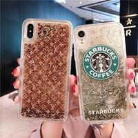 ingrosso liquido di scintillio del caso iphone 6s-Custodia glitter per iPhone XS MAX X XR Liquid Quicksand Sup Famosa Cover per iPhone 7 8 6S 6 Plus Paillettes Bling