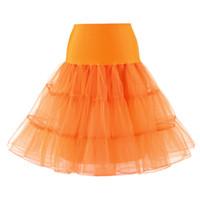 юбка-юбка оранжевая оптовых-Белая Черная Роза Красный Желтый Оранжевый Розовый Фиолетовый Голубой Зеленый Тюль Кружевные Юбки Женщины Длинные Старинные Юбки Мяч Юбка