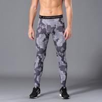 зеленые леггинсы для мужчин оптовых-Men Compression Running Tight Pants Gym Bodybuilding Sport Trousers  Camouflage Army Green Skinny Leggings Fitness jogging