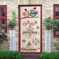 baykuş oda dekoru toptan satış-New2 Adet / takım Merry Christmas Baykuş Kapı Çıkartmalar Çocuk Odası Yatak Odası Için Kendinden Yapışkanlı Duvar Kağıdı Ev Dekor Çıkartması Su Geçirmez Poster