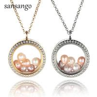 медальон с бижутерией оптовых-Fashion Jewelry For Women GIrl Gold Silver Alloy Rhinestone 6 Pearls Locket Pendant Necklace Party Gift Dropshipping Wholesale