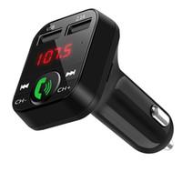 mp3 player adaptador para carro venda por atacado-Fone de Ouvido Bluetooth B2 Bluetooth Car Transmissor FM Handsfree Bluetooth Car Kit Adaptador de Música USB Carregador Mp3 Player Kits de Rádio Suporte Chamada