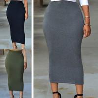 nuevo lápiz xxl al por mayor-Nuevas mujeres Faldas atractivas Mujeres de la vendimia Elegantes de cintura alta Faldas de lápiz delgadas Falda de lápiz bodycon elástico S-XXL
