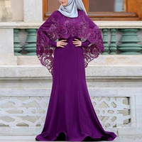 Wholesale chocolate brown mother bride resale online - Modest Muslim Arabic Mother of Bride Groom Dresses With Wrap High Neck Long Sleeve Appliqued Long Formal Evening Gowns For Weddings