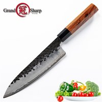 8 Inch Hamdmade Chef Knife 3 Layers Japanese AUS10 Steel Kitchen Knives Cooking Tools Wood Handle Gift Box Grandsharp