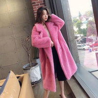 Wholesale bear coats resale online - Women Winter Faux Fur Warm Long Coat Long Sleeve Female Thick Teddy Bear Coat Casual Loose Oversize Outwears