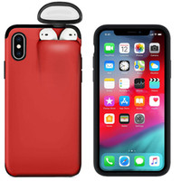 Wholesale iphone factory outlet for sale - Group buy Factory Outlet In Headset Caps Phone Case Earphone Storage Box For iPhone Pro XS MAX XR Shockproof Solid Color back Cover