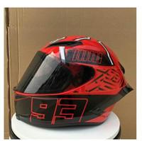 roter helm moto großhandel-Motorradhelm full face lens mit heckflügel racing winter helm hut moto red 93 helm