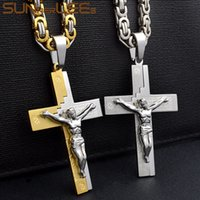 Wholesale byzantine crosses resale online - SUNNERLEES Stainless Steel Jesus Christ Cross Pendant Necklace Byzantine Link Chain Gold Color For Men SP220