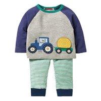 tier kinder outfits sets großhandel-Junge Tierapplikationen Tops + Pants Outfits Kindermode-Kleidungs-Satz für Kinder Sportanzüge Designer-Baby-Kleidung