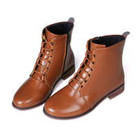 senhoras botas de cowboy curto venda por atacado-Mulheres Botas Curtas de Couro Moda Feminina Moda Romano Montando Sapatos de Cowboy sapato feminino estampado # l5