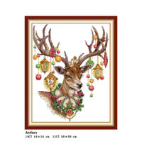 ingrosso pittura cinese punto croce-Patterns Antlers DA312 Animal Painting Contato DIY Kit punto croce Stampato su tela Ricamo DMC 11CT e 14CT Set cucito cinese