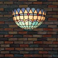 lumières méditerranéennes achat en gros de-Tiffany Mediterranean Aplique murale led Chevet Applique Murale Chambre Salle de bain Lumière Salon Bar Couloir Nordic Industriele Wandlamp