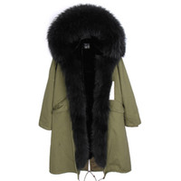 Wholesale parka for for sale - Group buy Classic black furs X Long Removable velvet furs Liner parkas with Real Raccoon fur collar and placket over the knee for women or men
