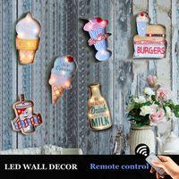 eski dükkan ışığı toptan satış-Vintage Led Işık Burcu Retro Plak Asılı Metal Boyama Pub Bar Için Dekoratif Duvar Dekorasyon Neon Sigh Shop Tabela Y19061804