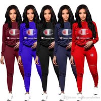 Wholesale two pieces clothing online - Big C Women Designer Tracksuits Solid Color Hooded Hoodies Pants Clothing Sets