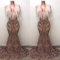 Wholesale vestidos de fiesta online - Long Elegant Prom Dresses Sexy New Sparkly Mermaid V neck Golden Sequin Feather African Girl Evening Dresses Vestidos de fiesta