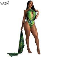 комбинезоны оптовых-VAZN 2019 Summer Design Hot 2-pieces Print Sets Women Full Sleeve x-long Outwears Hollow Out Bodysuits Chiffon Beach Set HEJ211