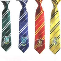 corbata para niños al por mayor-Harry Potter Corbata Gryffindor Slytherin Hufflepuff Ravenclaw Disfraces de Cosplay Corbata para Fiesta Niños Cosplay HHAA611