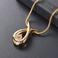 Wholesale black ribbon gold necklace for sale - Group buy LKJ11529 Free Funnel Gift Box Crystal Inlay Gold Ribbon Shape Memorial Urn Necklace Hold Loved Ones Ashes Cremation Jewelry Pendant