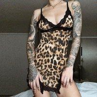 ingrosso camicie da stampa di leopardo-Leopard Print Spaghetti Strap Night Dress della biancheria delle donne indumenti da notte sexy del merletto del V-collo della camicia da notte Camicia da notte Estate Abiti da notte