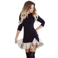 женские колготки оптовых-Модные женские платья Осень-Весеннее платье для женщин Женское О-Образное сшивание Плотно оборками Вечернее платье Мини-платье с коротким рукавом