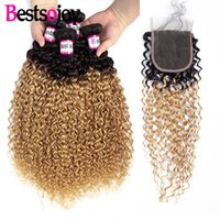 Wholesale 2tone hair weaves resale online - Ombre Indian Kinky Curly Hair with Closure Bundles Tone Curly Weave with Closure T1B Ombre Human Hair Curly Bundles with Closure