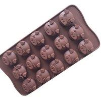 molho de bolo de porco venda por atacado-15 Capacidade de Porco Forma Baking Mold 3D Silicone Molde De Chocolate Porco Cubo De Gelo Bandeja De Cozinha DIY Bolo Fondant Sobremesa Ferramenta De Cozimento