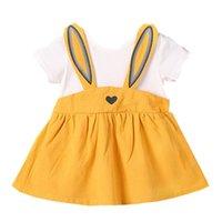 bebek kızları için yeni stil elbiseler toptan satış-Yaz Kız Elbise 2018 Yeni Moda Stilleri Tavşan Çocuk Giyim Için İyi Kalite Çocuklar Için 18045 Bebek Kız Elbise