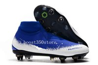 Wholesale anti slip spikes for sale - Group buy 2019 high quality Soccer Cleats Phantom VSN Elite DF SG Pro Anti Clog blue white size EUR39 Full knitted football boots