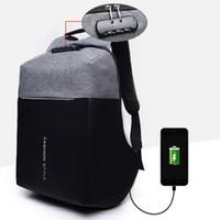 laptop mochila 15 polegadas venda por atacado-Homens Mochila Anti-Roubo de 15 polegada Grande Laptop Mochilas À Prova D 'Água Oxford Bagpack USB Carregador Masculino Anti Roubo Bloqueio mochila
