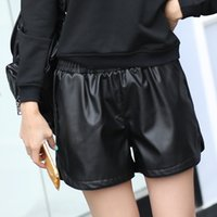 Wholesale mid waist shorts pu resale online - New Pu Leather Shorts Women s Black High Quality Short Pants With Pockets Loose Casual Short Summer Women Plus Size Shorts