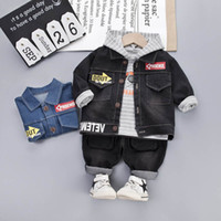 Wholesale boys outfits formal suit for sale - Group buy Casual baby boys suits baby boy clothes denim jacket hoodie Jeans Pants kids sets designer baby outfits boys designer clothes A8231