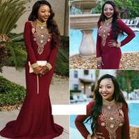 vestidos formales de vino oscuro al por mayor-Sirena vino oscuro vestidos de baile de manga larga con cuentas de oro negro chica cuello alto noche africana ropa formal Vestido De Festa