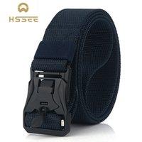 Wholesale quick release belt buckles resale online - HSSEE New Mens Tactical Belt Hard Metal Quick Release Magnetic Buckle Mens Nylon Belt mm Soft Real Nylon Sports