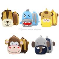 Wholesale kids monkey backpacks resale online - Animal Plush Backpack Cartoon School Shoulder Bag Kid SnackPlush Dolls Plush Soft Baby Monkey Lion Tiger Shark Elephant