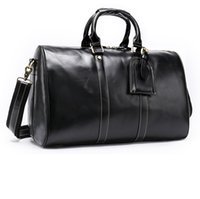 Wholesale vintage leather luggage resale online - Good Quality Genuine Leather Duffel Bag Famous Brand Vintage Designer Weekend Travel Bags Carry On Luggage Bag Black Coffee