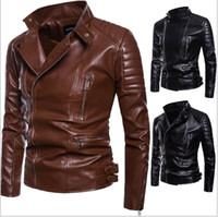 PU Jacket For Men Winter Lapel Neck Leather Jacket Men Body Repair Leather Men's Korean Version Ribbed Pendulum Pure Leather Jacket J1811179