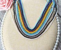 farbe wulst kettenstränge großhandel-10 stränge mischen farbe 3mm bunte kristall perlen lange kette halskette, diy machen halskette schmuck finden nk162
