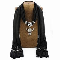Wholesale scarf trends resale online - Fashion Trend Polyester Collar Horns skeleton pendant Scarf Ethnic Tassel Jewelry Necklace Alloy Ornaments Women decor Scarves